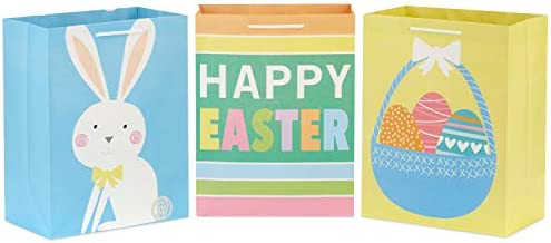 Hallmark 11 Large Easter Gift Bags 3 Pack Easter Basket Bunny Happy Easter Stripes in Yellow product image