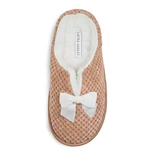 Laura Ashley Ladies Spa Texture Clog Slippers W/Bow Dark Tan