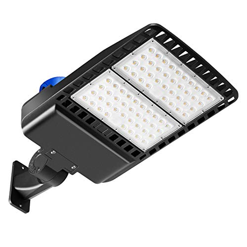 LED Parking Lot Light Photocell 150W, 19500LM LED Flood Area Security Wall Lights, 5000K 450W Equivalent MH/HPS Replacement, Dusk to Dawn Outdoor LED Lighting Garage Backyards Patio, IP65 Arm Mount