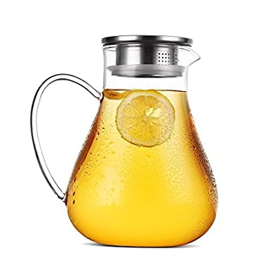 JIAQI 1900 ml Glass Pitcher With Stainless Steel Infuser Lid and Spout - Handmade Water Jug Great for Hot/Cold Water, Ice Tea and Juice Beverage Carafe QLYGYBL319