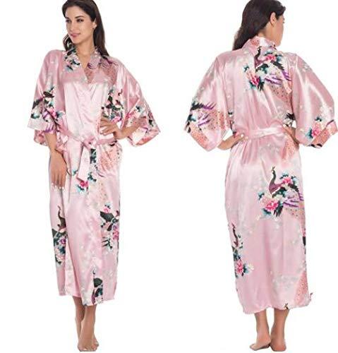 LYH Accappatoio A Kimono Di Seta Accappatoio Da Donna Abito Da Sera...