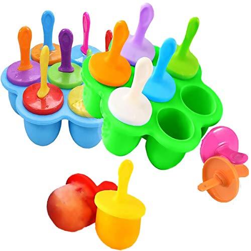 Biluer Mini Popsicle Moldes, 2PCS Silicona Moldes de Paletas Molde para Helados Bebé DIY Alimentos Suplemento Herramienta Fruit Shake Helado del Molde Herramientas Fiestas