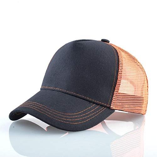 Gorra de bisbol de Malla Transpirable para Hombres y Mujeres, Gorras de Camionero a la Moda, Gorra de bisbol Snapback Hip Hop con Sombreros de Visera Streetwear-Orange