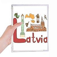 ラトビアの国家の象徴のランドマークのパターン 硬質プラスチックルーズリーフノートノート