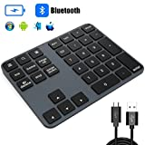TedGem Teclado Numérico Inalámbrico, Keypad Delgado Portátil Numérico Inalámbrico Bluetooth Recargable 34 Teclas Aluminio Entrada Datos Teclado Numérico Compatible con Windows/Android/iOS/OS