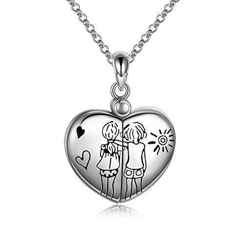 VONALA Collar para mujer con medallón de plata de ley 925 para fotos, mejor regalo de cumpleaños para hermanas