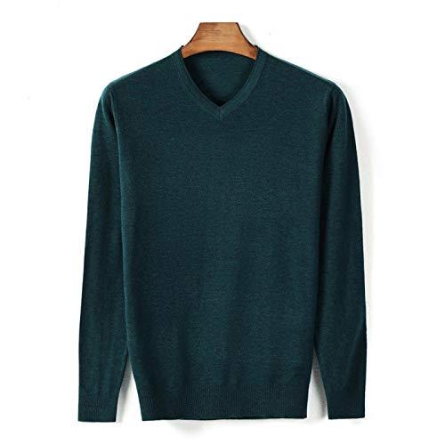 Otoño Nuevo Suéter Fino con Cuello En V para Hombre Estilo Clásico Color Sólido Suéter Informal De...