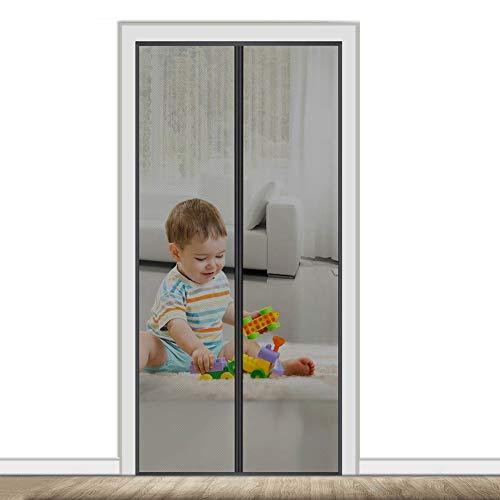 AMCER Mosquitera Magnética para Puertas 80x220cm Cortina Magnética para Puerta, Adsorción magnética Plegable, Cortina Ultrafina, para Pasillos/Puertas - Negro
