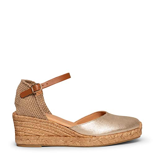 Zapatos miMaO. Sandalias de Piel Fabricadas en España. Cuñas de Esparto Media con Plantilla Ultra Confort Gel