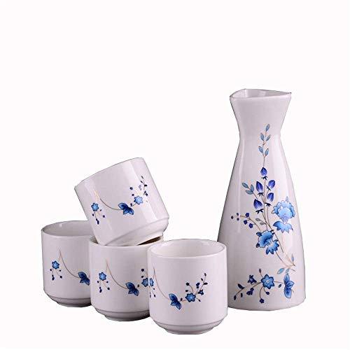 CHUTD Set di Sake Giapponese in Ceramica da 5 Pezzi, Ideale per ristoranti di Sushi e ristoranti Coreani, Set Ben progettati e Ben Realizzati Ti Permettono di goderti la Classica Vita esotica