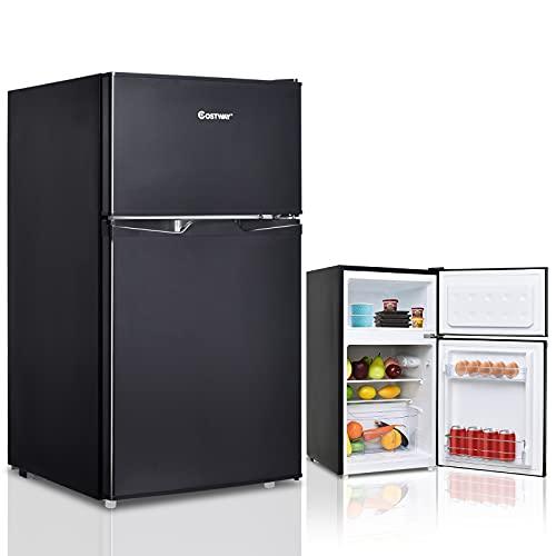 COSTWAY Kühlschrank mit Gefrierfach Standkühlschrank Gefrierschrank Kühl-Gefrier-Kombination 84L Schwarz