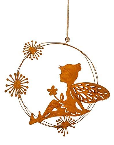 dekorativer Anhänger Deko-Hänger Fensterhänger Elfe Fee Blumenkind Metall edelrost 2 mögliche Motive (Elfe sitzend)