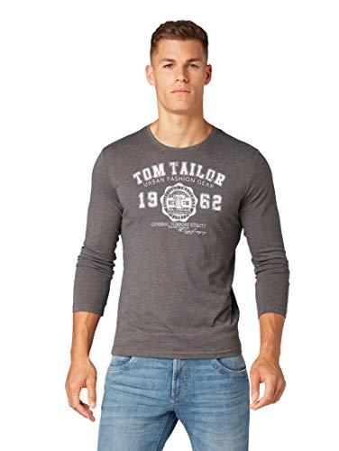 TOM TAILOR Herren T-Shirts/Tops Langarmshirt mit Print im Doppelpack Black,M