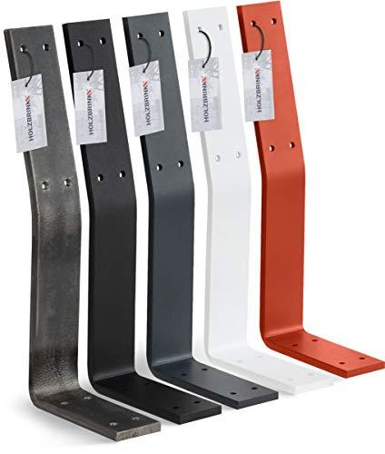 HOLZBRINK Metall Rückenlehnenhalterung für Sitz, Bank, Bett, Rückenlehne zum Anschrauben, 340x130x50 mm, Anthrazitgrau, 1 Stück, HLMR-01-7016