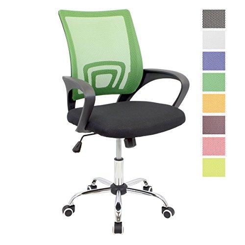 CashOffice - Silla de Escritorio Ergonomica, Silla de Oficina Giratoria con Respaldo Transpirable (Verde)