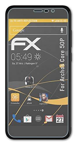 atFolix Panzerfolie kompatibel mit Archos Core 50P Schutzfolie, entspiegelnde & stoßdämpfende FX Folie (3X)