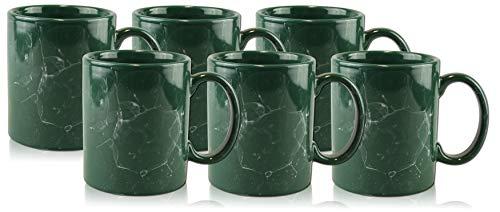 PorcelainSite Geschenkideen GmbH 6 Keramiktassen Becher Bürotassen Kaffeepott C-Henkel Petrol Green Marmorglasur