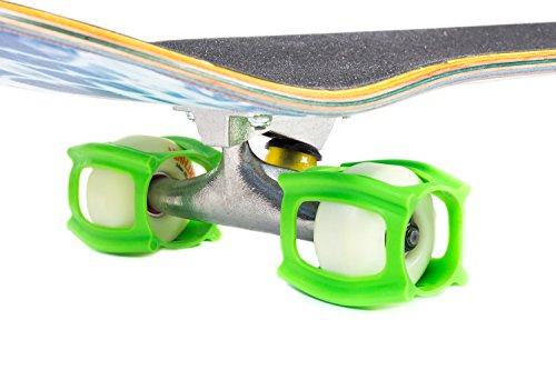 SkaterTrainer 2.0, Gummimanschetten für Skateboard-Rollen, das ideale Zubehör, um Ihren Ollie und Kickflip zu perfektionieren–Sie werden Ihre Tricks in kürzester Zeit beherrschen, neon green