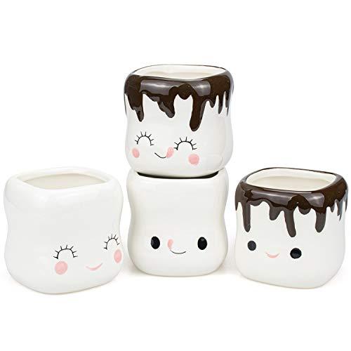 Hedume 4 Pack Ceramic Hot Chocolate Mugs, Cut Coffee Mug Set, Couple Matching Mugs, Anniversary Christmas Wedding Valentine's Day Gift