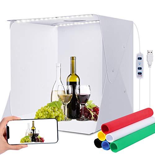 Tenda per studio fotografico, 40 x 40 x 40 cm, con luminosità regolabile, scatola luminosa a LED, pieghevole, kit softbox con 6 sfondi colorati per la fotografia (16' x 16' )