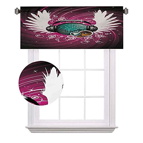 Popstar Party - Cenefas cortas con auriculares y alas de ángel con círculos, ahorro de energía para cortinas de baño, 42 x 12 pulgadas, color magenta y negro