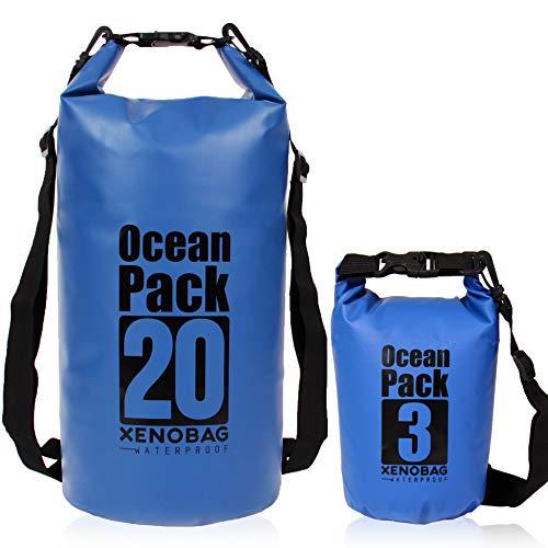 XENOBAG - Bolsa impermeable (3 L) 20 litros/Dry Bag pequeño/Ocean Pack 3 l o 20 l / Bolsa impermeable / Drybag con correas ajustables para el hombro y cierre de seguridad (azul oscuro, 3 litros)