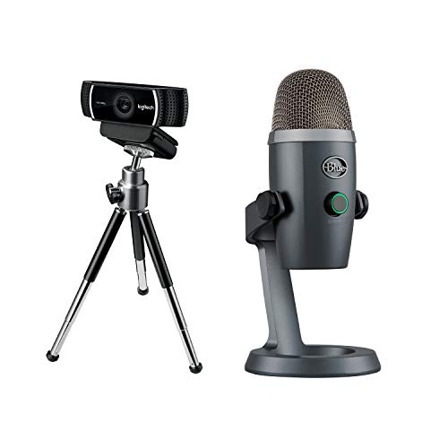 Webcam Logitech C922 Pro Stream, diffusion en Full HD 1080p avec trépied et 3 mois de licence XSplit gratuits - Noir + Blue Yeti Nano Premium Microphone USB - Shadow Grey