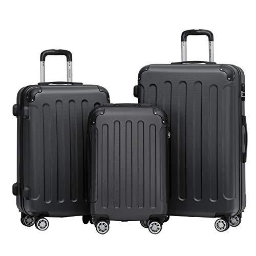 BEIBYE 2045 Zwillingsrollen 3tlg. Reisekoffer Koffer Kofferset Trolleys Hartschale in 14 Farben (Schwarz)