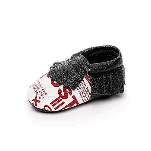 XYAN Baby-Schuhe Schwarz Gesäumten Patterns Englisch Buchstaben oder Soft-Soles Einfach Wear (Farbe : English, Size : 12.5cm)