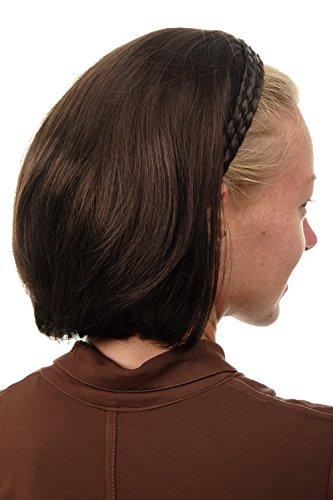 WIG ME UP - 90606-6 Halbperücke Haarteil edel mit geflochtenem Haarreif kurz schulterlang glatt braun