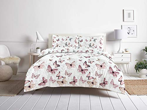 Night Comfort Eco Breathable Butterfly Floral Print Cotton Blend Reversable Modern Duvet Cover Set With Pillowcases (Double)