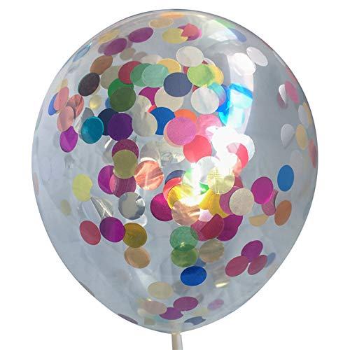 CHIC&TNK 10Pcs/Lot Clear Balloons Silver Gold Star Foil Confetti Transparent Happy Birthday Baby Shower Wedding Decoration,Colorful Round,5pcs