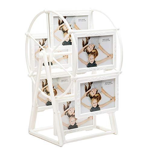 Cadre photo familial 12,7 cm - Roue de Ferris - Cadre photo rotatif - Décoration d'intérieur - Cadre photo démontable, blanc, free size