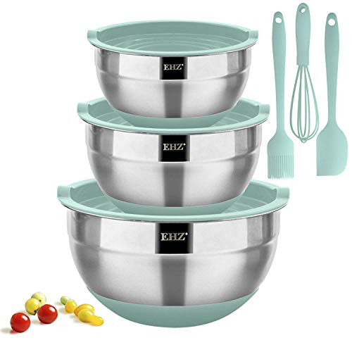 EHZ Mixing Bowls Stainless Steel, Prep Bowl Set with Lids & Silicone Whisk, Spreader Spatula, Basting Brush, Non-slip Silicone Bottom Nesting Mixing Bowl for Cooking Baking & Food Storage -9pcs (Aqua)