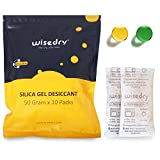 wisedry 50 Gram [10 Packs] Silica Gel Desiccant Packets Microwave Fast Reactivate Desiccant Bags with Indicating Beads for Closet Gun Safes Bathroom Food Grade
