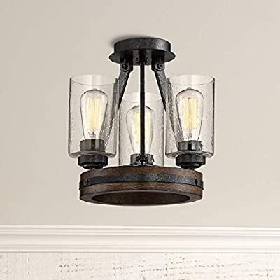 "Gorham Rustic Industrial Ceiling Light Semi Flush Mount Fixture Iron Gray 12"" Wide 3-Light Faux Wood Clear Seeded Glass for Bedroom Kitchen Living Room Hallway Bathroom - Franklin Iron Works"