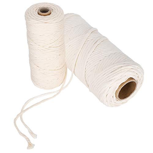 2 Piezas de cordón de algodón macramé 100 m, 3 mm, 4 mm, Blanco de una Sola hebra Hilo Trenzado Hilo de algodón para Manualidades Hilo para Tejer Hilo para Manualidades para Manualidades