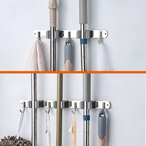 Broom Mop Holder Wall Mounted Stainless Steel Laundry Room Organization and Storage, Broom Rack Tool Hanger Broom,3 Clamps4 Hooks and 2 Clamps 3 Hooks Set  Garage Storage & Organization Tool Hanger