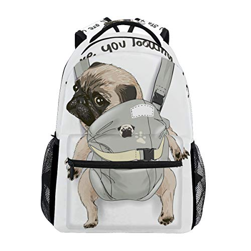 ALAZA Pug Dog In Back Carrier W/Quote Large Backpack Personalized Laptop iPad Tablet Travel School Bag with Multiple Pockets for Men Women College