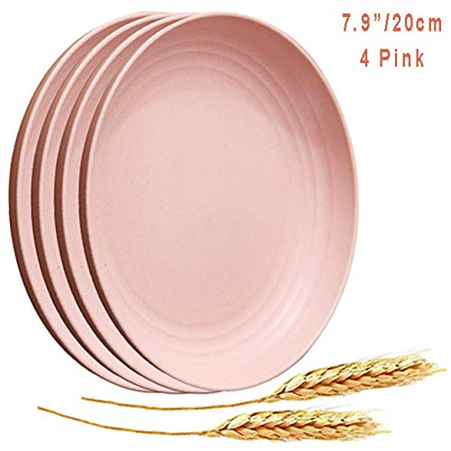 Microwave Safe Wheat Straw Plates - 4 Pack 7.9' Unbreakable Dinner Plates, Lightweight & Degradable BPA free Dishwasher Safe Plates for Kids,Children,Toddler & Adult Fruit Snack Containe (Pink)