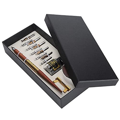 Juego de bolígrafos de inmersión, bolígrafo de inmersión de caligrafía vintage con 10 puntas de pluma de escritura de tinta para herramienta de escritura de caligrafía artística(#2)