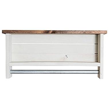 Bathroom Shelf with Towel Bar | Solid Wood | Wall Mount | Modern Farmhouse Decor | 12 x 24 Inch (Whitewash)