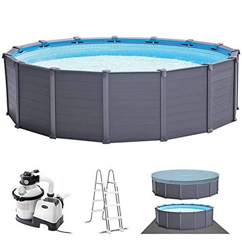 Intex Schwimmbad Ø 478 x 124 cm Gestellbecken Set Graphit
