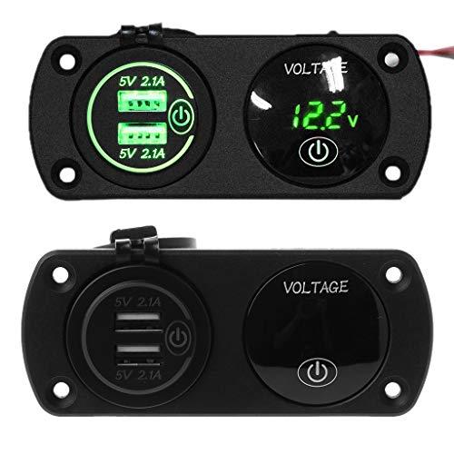 NA. RipengPI LED Digital Voltmeter + Dual USB Outlet Power Soet Panel 2.1A Charger Wi Switch for Car Boat Marine Rv Tru ATV Cara Motorle Vehicles