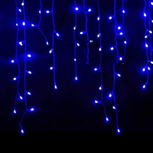 Luccase LED Vorhang Lichte 5 x 0,8 m 216 LED Wasserdichtes Lichterketten Lcicle Light Ausziehbares Licht mit Funkelndem Vorhang Fenster Dekor Weihnachtslicht (Blau)