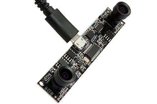 ELP USB-Kamera mit zwei Objektiven 1MP Webcam-Board-Modul USB mit Kameras, Mini-USB 2.0-Treiber-Webkameras CMOS OV9712 USB-Kameras-Modul 720P Webcam mit Doppelobjektiv USB, Plug-and-Play-Webkamera USB