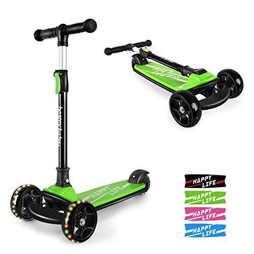 besrey Kinderroller Kinderscooter Kinder Roller Kickscooter für Kleinkind 3 Räder höhenverstellbar mit LED leuchtenden Räder ab 3 bis 8 Jahren - Grün