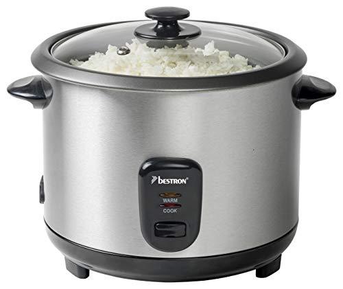 Bestron Grand cuiseur à riz avec panier vapeur et fonction maintien au chaud, 1,8 L, 700 W, Acier inoxydable