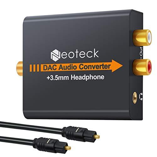 Neoteck DAC-Konverter Digital-auf-Analog-Audio-Konverter Optisch Koaxial Toslink Signal auf Analog Audio Adapter Cinch L/R mit 3,5 mm-Klinken-Ausgang für HDTV Blu Ray DVD Sky HD XBox 360