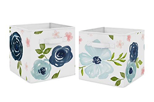 Sweet Jojo Designs Navy Blue and Pink Watercolor Floral Foldable Fabric Storage Cube Bins Boxes Organizer Toys Kids Baby Childrens - Set of 2 - Blush, Green and White Shabby Chic Rose Flower
